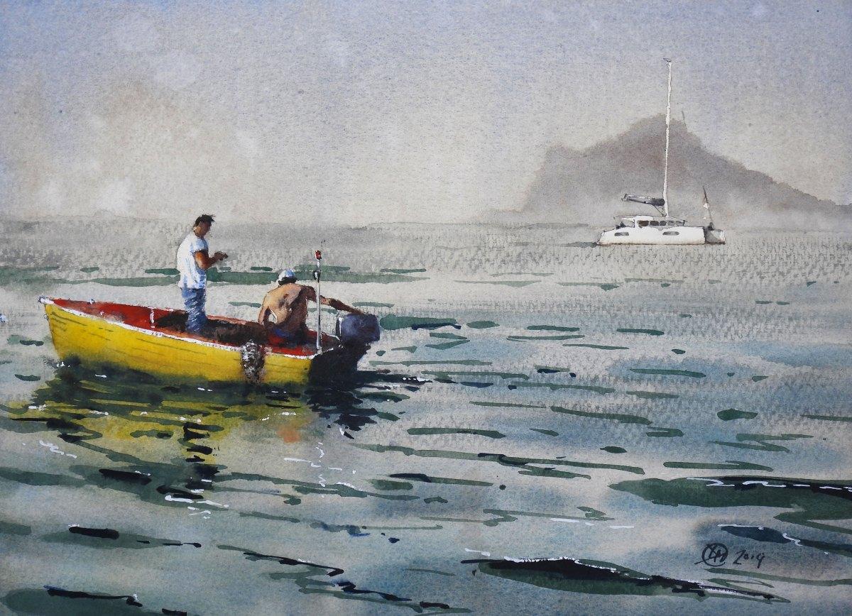 Fishermen watercolour demonstration