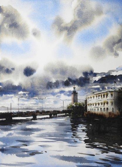 Akvarell Vasabron-vy