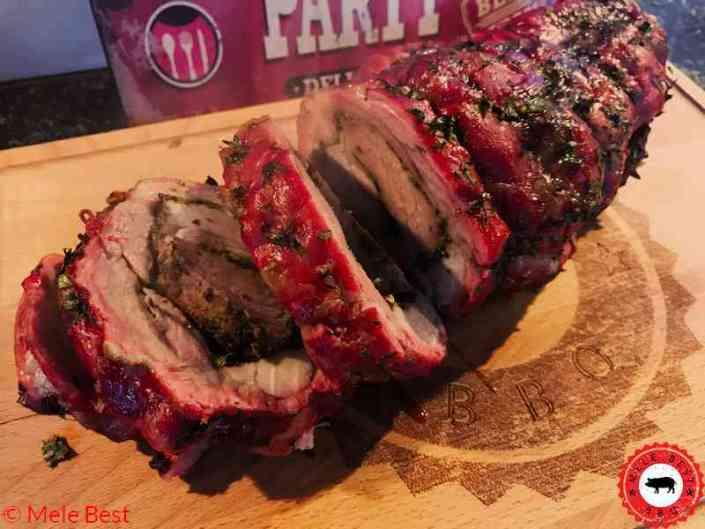 Seasoned pork neck roulade