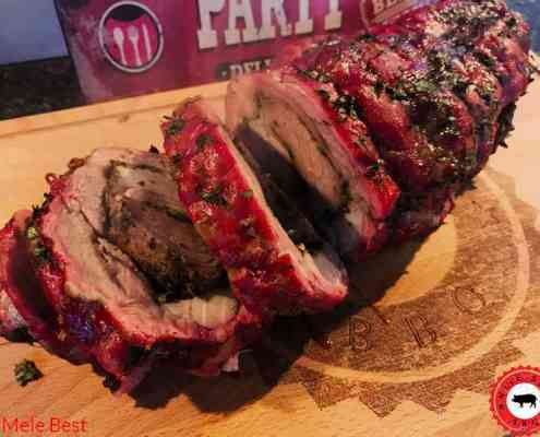 Seasoned pork neck roulade