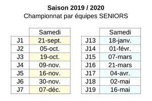 09/01/20 : Le calendrier de la phase 2 de l'année 2019/2020