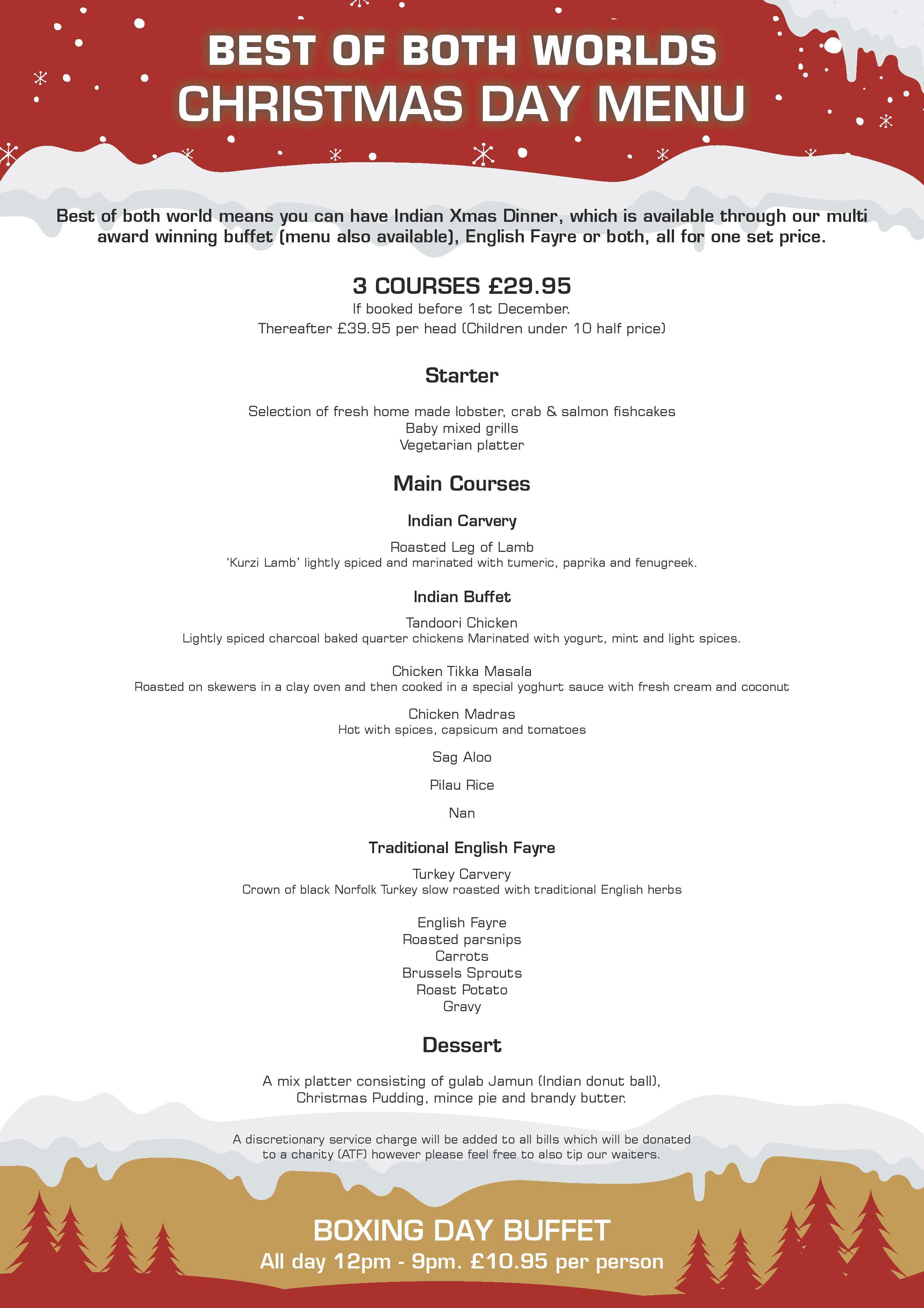 Christmas Day Menu - Melford Valley Tandoori - Indian Restaurant Suffolk