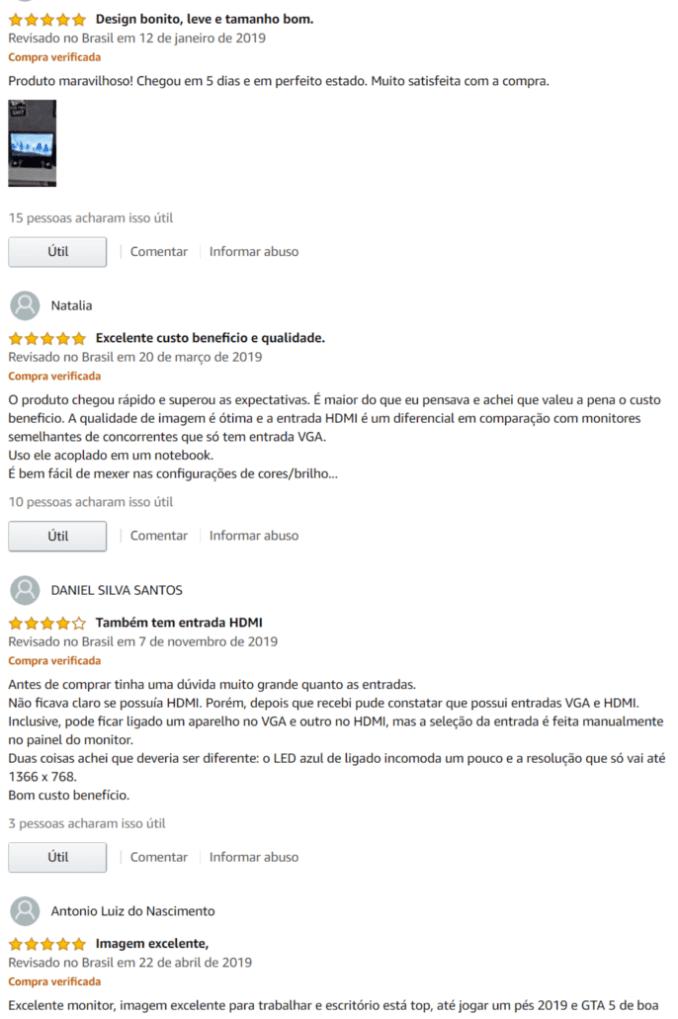 comentários e avaliações