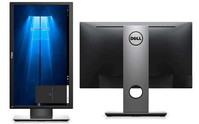 Monitor com tela na vertical (em pé) e visto por trás