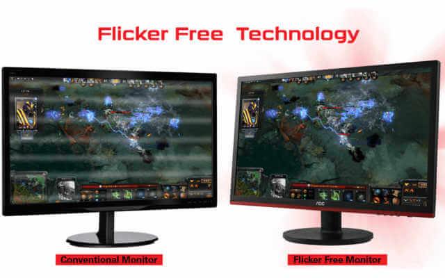 comparação entre monitor flicker free e normal