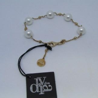 bracciale donna argento 925 dorato rosè perle Diva Gioielli made in italy