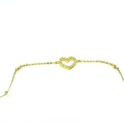 Bracciale donna oro giallo Cuore zirconi