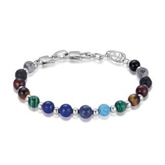 bracciale unisex acciaio pietre colorate luca barra gioielli