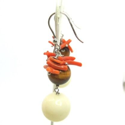 Orecchini donna argento 925 corallo e occhio di tigre Gioielli nostra produzione