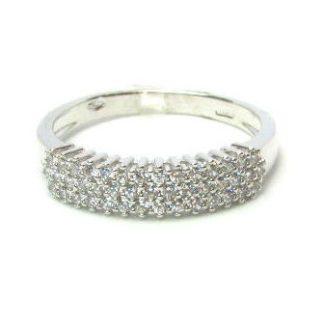 anello donna oro bianco zirconi fascia pave'