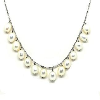 collana donna argento e perle