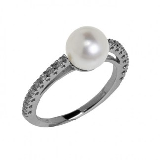 anello donna oro bianco perle di acqua dolce diamanti genesia perle