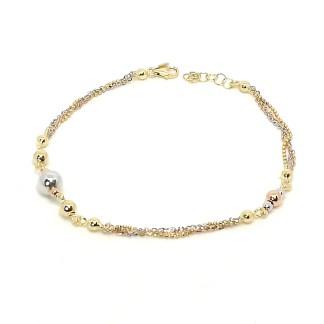 Bracciale donna oro giallo oro bianco e oro rosa Sfere