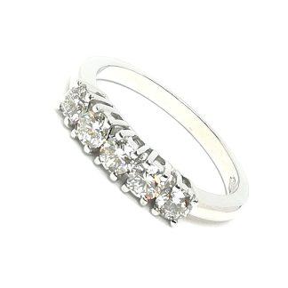 Anello Riviera a 5 diamanti in oro bianco e diamanti