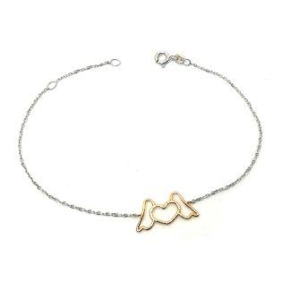 Bracciale bambina in oro bianco e oro rosa Angelo Girl's bracelet in white gold and rose gold Angel