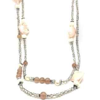 Collana donna in Perle di Maiorca Quarzo Cherry e Cristalli