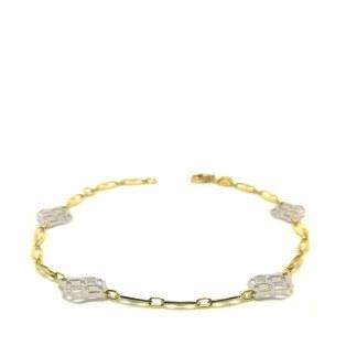 Bracciale donna in Oro giallo e Oro bianco Losanghe