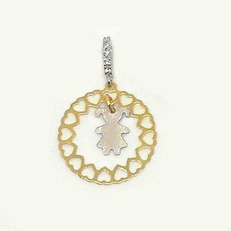 Ciondolo donna in Oro bianco e Oro giallo Bebè con Cuori