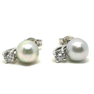 Orecchini di Perle d'acqua dolce Grigie Oro bianco e Zirconi