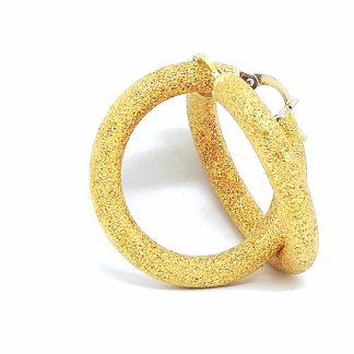 Orecchini donna Cerchio oro giallo Diamantato Campanella