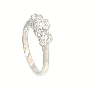 Anello donna in Oro bianco e Diamanti effetto Trilogy