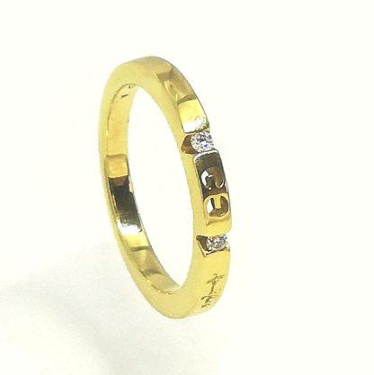 Anello Veretta in Oro giallo e Diamanti Gianni Carità