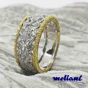 Anello donna Eurodiamant in Oro bianco e Oro giallo Fascia con Diamanti Traforato
