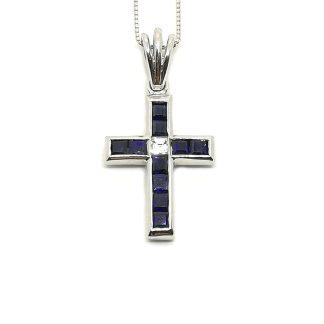 Collana donna in Oro bianco Croce con Zaffiro e Diamanti