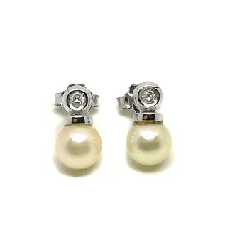 Orecchini donna Punto luce in Oro bianco con Perle akoya e Diamanti