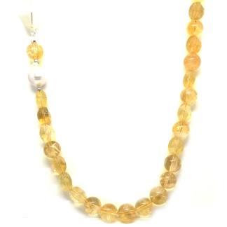 Collana donna in Argento e Pietre dure Quarzo citrino e Perle di acqua dolce