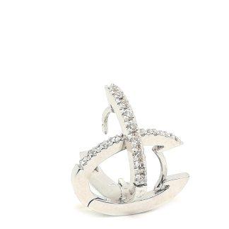 Orecchini donna Campanelle Ovali in Oro bianco e Diamanti