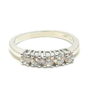 Anello donna oro bianco diamanti    0532G riviera 5 pietre