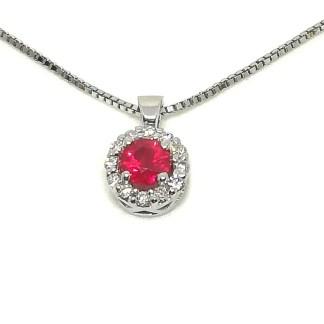 Collana girocollo in Oro bianco con Rubino e Diamanti Kate