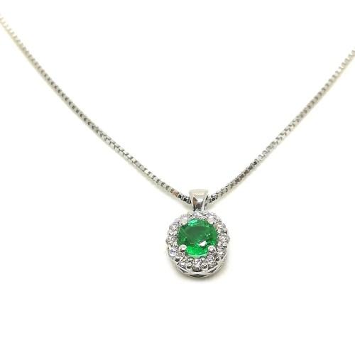 Collana girocollo in Oro bianco con Smeraldo e Diamanti Kate