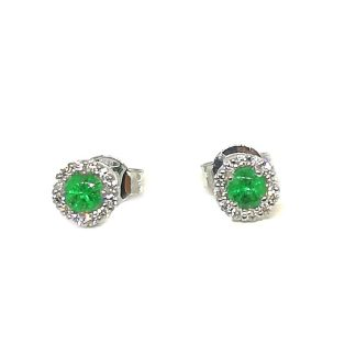 Orecchini in Oro bianco con Smeraldi e Diamanti Kate