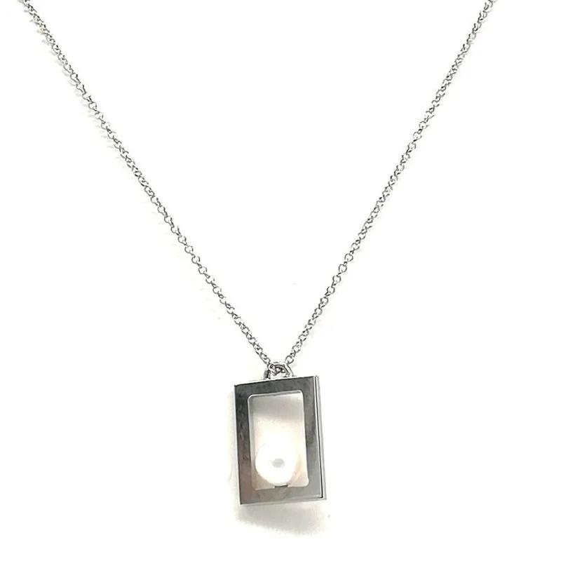 Collana in Argento e Perla di Acqua dolce Rettangolo Kikilia Fashion