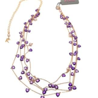 Collana in Argento Rosè Perle di acqua dolce e Pietre colorate multifilo Kikilia Fashion