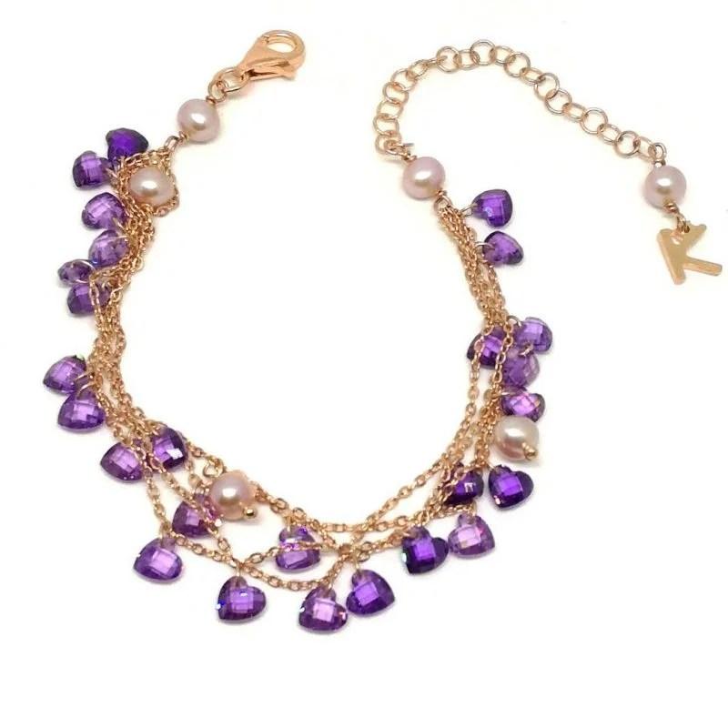 Bracciale in Argento Rosè Perle di acqua dolce e Pietre colorate multifilo Kikilia Fashion
