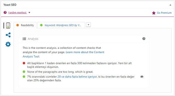 Wordpress Yoast SEO Okunabilirlik Analizi