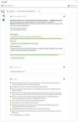Wordpress Yoast SEO Eklentisinin SEO Analiz Ayarları