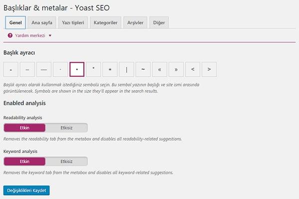Wordpress Yoast SEO Eklentisinin Ayarları Başlık ve Metalar Genel