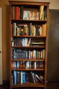One of the bookcases in Melina Druga's office