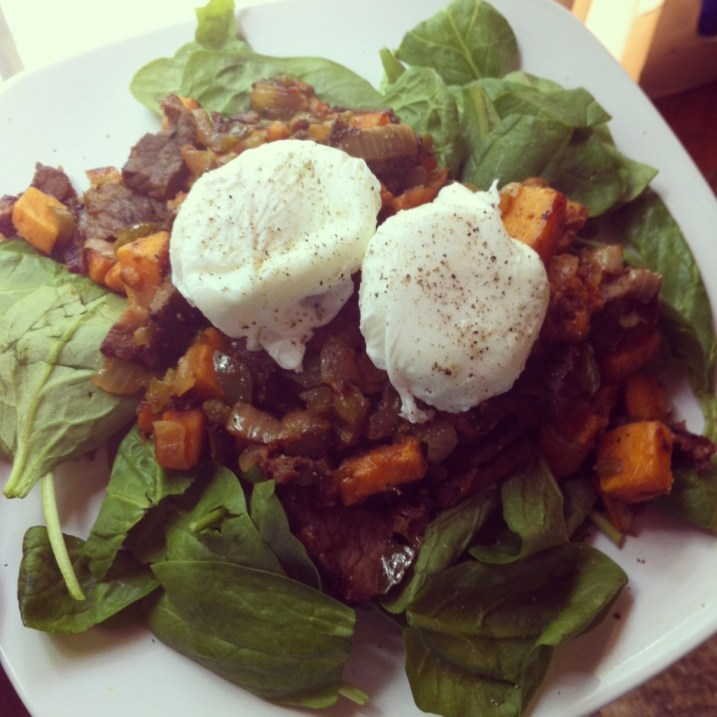 Sweet Potato Breakfast Hash over Spinach with Poached Eggs