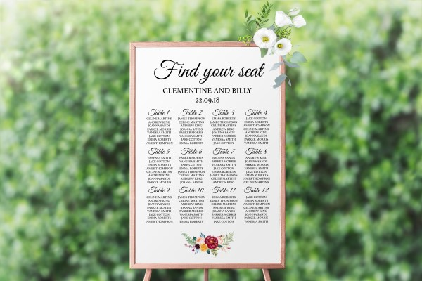 Berry and Blush Blooms Seating Chart