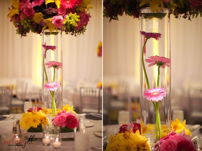 The Centerpieces Had Flowers Submerged In Water