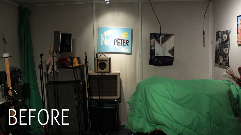 The Epic Rap Battles of History and Nice Peter recording studio live room before custom set design by Melissa Judson.