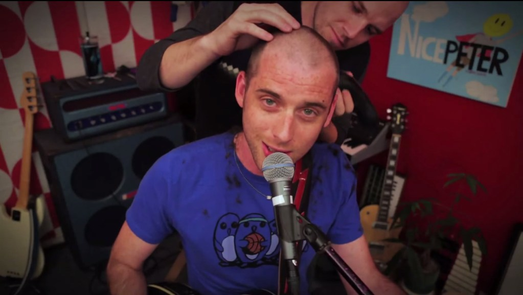 "Nice Peter recording his hit ""Bald Guy"" video in Epic Rap Battles of History Live Room designed by Melissa Judson"