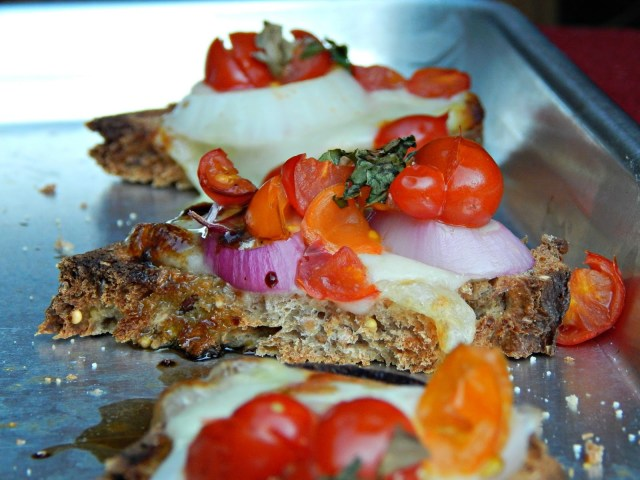 Tomato Mozzarella and Basil Bruschetta