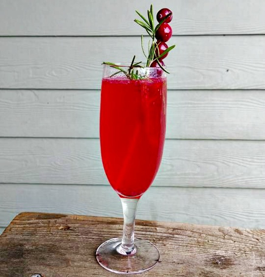 cranberry rosemary mimosas