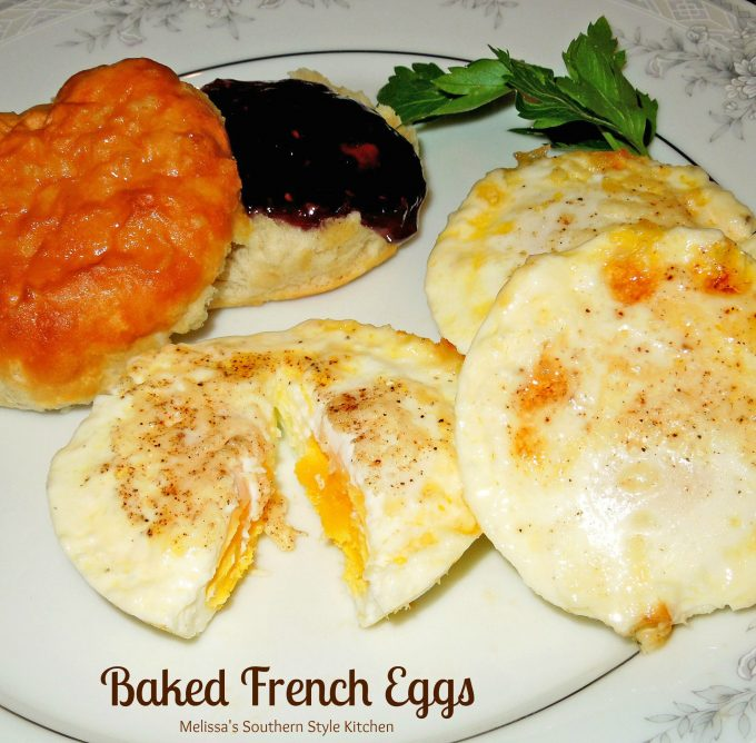 Baked French Eggs on a plate